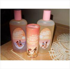 Vintage Avon Sweet Honesty Bubble Bath Body Splash and Perfumed Talc Set