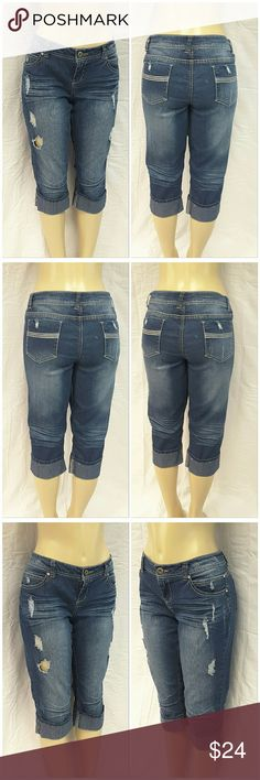 """40% BUNDLE DISCOUNT! FREE SHIPPING ON BUNDLES!! Distressed Whiskered Denim Capris, size 17 See Measurements, cuffed hem, large clear rhinestone on front pockets, lightweight stretchy material, machine washable, 84% cotton, 15% polyester, 1% spandex, approximate measurements: 20"""" waist laying flat, 18.5"""" inseam, 3"""" zipper, 9"""" rise.  ADD TO A BUNDLE!  40% BUNDLE DISCOUNT! FREE SHIPPING ON BUNDLES!! ?OFFER? $6 LESS ON BUNDLES! Only ?offers? of $6 less on Bundles for shipping reimbursement…"""