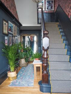 Should I Add a Carpet or Rug Runner to My Mountain House Staircase? – [pin_pinter_full_name] Should I Add a Carpet or Rug Runner to My Mountain House Staircase? Black and White stair runner w… Staircase Runner, House Staircase, Staircase Design, Stair Runners, Stair Runner Rods, Carpet Runner On Stairs, Stair Carpet Rods, Striped Carpet Stairs, Craftsman Staircase