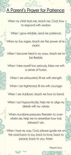 Parent's Prayer for Patience|