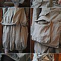 MLLE SERENA : Veste multi-poches, jupe vert-de-gris, legging, chaussures RUNDHOLZ, chemisier court fleuri EWA IWALLA - Atelier des Ours.