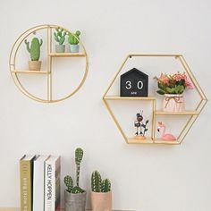 Hexagon Grid, Geometric Wall, Iron Wall, Wall Decor, Decorating Shelves, Shelves, Shelf Decor, Wall Storage, Wooden Decor