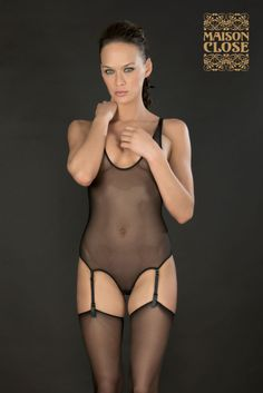 'Pure Tentation' Thong body with suspenders by Maison Close