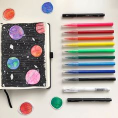 Wonderful space artwork by @ily.study  so pretty and striking! #notebooktherapy - - Link to our notebooks washi and more at: @notebook_therapy - - #bulletjournal #plannergirl #planneraddict #student #studyhard #studioghibli #art #bulletjounaljunkies #bulletjounalcommunity #plannersupplies #washi #studymotivation #studyspo #letteringart #mujipens #bujojunkies