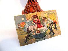 Vintage Halloween Postcard 1917 Apple Bobbing by LydiasPost, $22.00