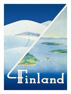 This vintage Finnish travel poster shows scenes from summer and winter. This vintage Finnish travel poster shows scenes from summer and winter. Illustrations Vintage, Illustrations Posters, Vintage Travel Posters, Vintage Ads, Finland Summer, Finland Travel, Travel Ads, Usa Travel, Travel Photos