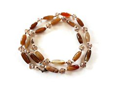 Brown bead necklace, Agate stone necklace, Natural stone necklace, Agate bead necklace, Semi precious stone jewelry - pinned by pin4etsy.com
