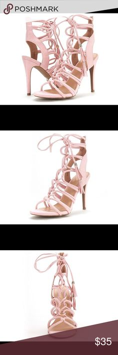 Lace Up Heels •Lace Up / Gladiator Heels. •Pink (Light Pink)  •Open Toe •4 inch Heel •Ankle Tie up. Wore only once. I'm a 6.5 and the heels fit perfectly. Message me if you have any questions! Shoes Heels