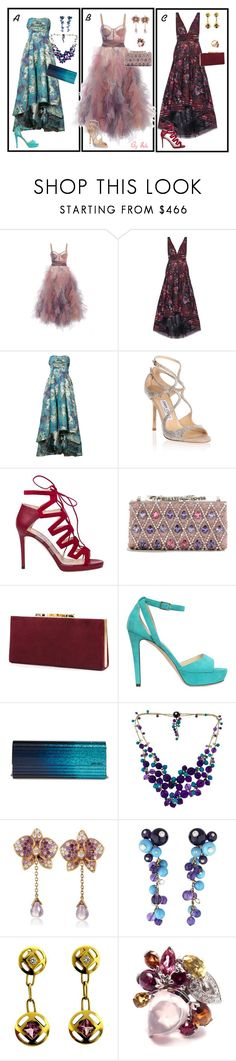 """""""Marchesa , Choo & Cartier : A, B or C?"""" by selene-cinzia ❤ liked on Polyvore featuring Marchesa, Notte by Marchesa, Jimmy Choo and Cartier"""