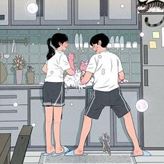 This Korean Artist Giving Serious Through His Illustration Drawing - I am a big fan of kdrama aka Korean dramas especially their rom-com drama. but today I was scrollin - Cute Couple Drawings, Cute Couple Art, Cute Drawings, Hipster Drawings, Pencil Drawings, Couples Comics, Anime Couples, Cute Couples, Love Cartoon Couple