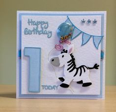 1st Birthday Card, Handmade - Marianne zebra die. For more of my cards please visit CraftyCardStudio on Etsy.com.