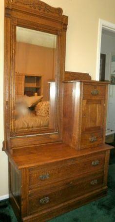 Quarter Sawn Oak Vanity Dresser W 3 Beveled Mirrors
