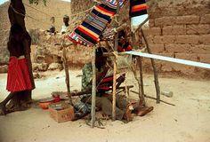 Africa | Hausa Weaver at Work in Zinder Region, Niger.  ca. 1980 | ©Digital Library University of Wisconsin--Madison. African Studies Program. Photographer Janet Beik