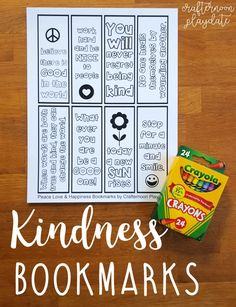 Free Peace Love and Happiness: Kindness Bookmark Coloring Page – Crafternoon Playdate