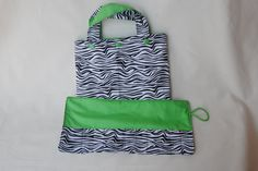 Zebra Print Tote Bag and Crayon Roll - cotton bag - zebra - rainbow colors - children's tote - art tote - quiet time - little artist - pinned by pin4etsy.com