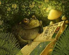 Cozy Fairy Tale Thank You Toad Firefly Signed Print by Kim Parkhurst. Under the hedgerow, a little toad reads his Fairy Tale book about The Frog Prince. Night is falling, light is fading . until a firefly casts his warm light for Toad to read by. The Frog Prince, Motifs Animal, Frog Art, Frog And Toad, Sign Printing, Beatrix Potter, Children's Book Illustration, Botanical Illustration, Fantasy Art