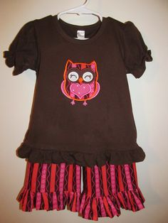 Valentine Owl Ruffled Pants Set by vduff on Etsy, $45.00