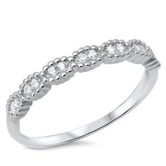 Fine Cubic Zirconia Band .925 Sterling Silver Ring sizes 5-10