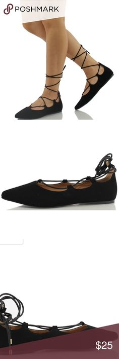 lace up pointed flats worn very few times. size 7 but could fit 6.5! (CREDITS TO AMAZON FOR THE PICTURES) Shoes Flats & Loafers