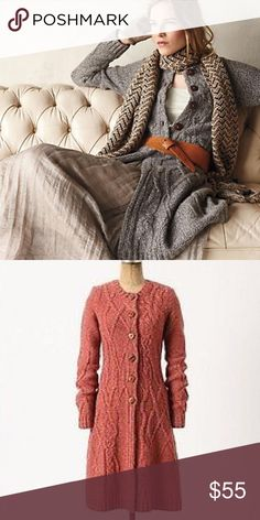 ANTHROPOLOGIE LONG CABLED SWEATER CARDIGAN Beautiful marled long sweater from Anthro. 90% Wool.. Beautiful cabled details.. In great condition. The actual colour is shown in photo#2.. Anthropologie Sweaters Cardigans