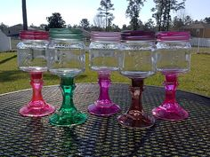 Diy Bird Feeder Discover Mason Jar Wine Glass - Colored Glass - Shimmer Colors - One Glass - Weddings - Bachelorette Parties- Birthday Party - Cocktail Mason Jar Crafts, Mason Jar Diy, Bottle Crafts, Jar Design, Baby Food Jars, Baby Food Jar Craft Ideas, Diy Bird Feeder, Clay Pot Crafts, Dollar Tree Crafts