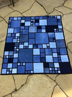 Denim quilt looks like stained glass