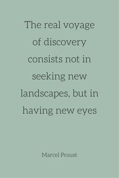 The real voyage of discovery consists