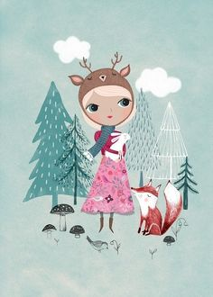 Poster Deer girl mint 29.7 x 42 cm
