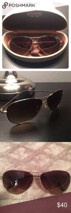 Coach Juliana Gold Sunglasses Coach Aviator Sunglasses for Women with case. Model HC7017 (L911 Juliana) Coach Accessories Glasses
