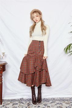 #koreanstyle #streetstyle #beret korean style street style beret classic asian style young style fashion street ulzzang skirt long skirt beautiful skirt sweater white