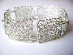 Items similar to silver plated wire crochet bracelet, bridal bracelet, bridesmaid gift on Etsy Wire Jewelry Patterns, Wire Jewelry Designs, Lace Jewelry, Metal Jewelry, Viking Knit Jewelry, Crochet Bracelet, Crochet Earrings, Wire Crochet, Bridal Bracelet