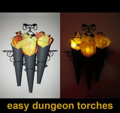10 Minute Super Easy Dungeon Torches for Halloween and other Dungeon Events. Also could be olympic torch, or Frankenstine villager torch. These torches look great...