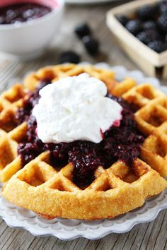 Cornmeal Waffles with Blackberry Compote Recipe