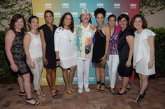 "MIAMI BEACH, FL - APRIL 30:  Rebecca Vazquez, Karla Lozano, Jackie Gagne, Lucinda Martinez, Carlos Santana, Cindy Blackman-Santana, Jessica Vargas, Leslie Cohen and Doris Casap attend a fireside chat with Carlos Santana during a special screening of ""Santana de Corazon"" hosted by HBO Latino at Bathclub on April 30, 2014 in Miami Beach, Florida."