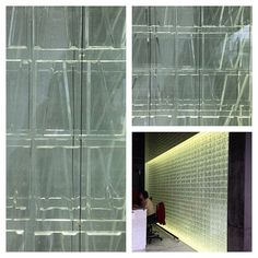 This glass block wall makes the entrance look #cool #clean & #contemporary, esp in this commercial environment.