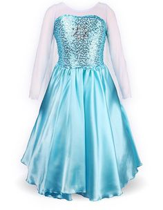 Gender: Female Age Group: Kids Color: Blue Pattern: Fairy Tale Material: Cotton + Polyester Girls Frozen Elsa Fancy Dress Kids Halloween Costume With Cape.Welcome to choose your favorite children's we