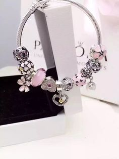 50% OFF!!! $279 Pandora Charm Bracelet Pink White. Hot Sale!!! SKU: CB02025 - PANDORA Bracelet Ideas