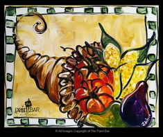 Thanksgiving Funky Cornucopia Painting