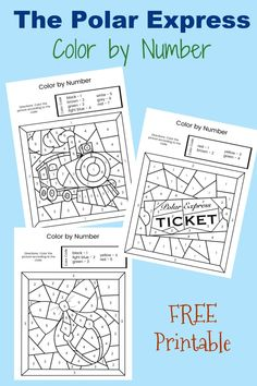 Polar Express Color by Number Pages FREE. Use this Polar Express activity after you read the book or watch the movie. Great for class parties!  #polarexpress #kids #freeprintable #christmasbook