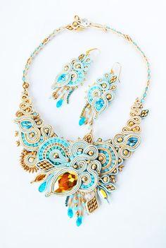soutache jewelry | Soutache necklace, soutache jewelry, swarovski jewelry, wedding ...