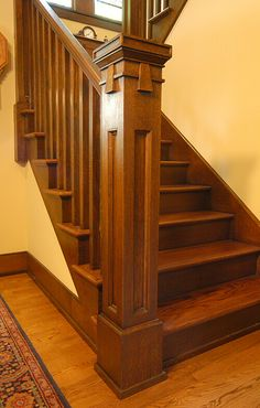 Newel Post - Custom Arts & Crafts Millwork by El Dorado Woodworks - Heussner Res. - Arts & Crafts, Craftsman, Mission and Prairie Style Favorites - Craftsman Staircase, Craftsman Interior, Craftsman Style Homes, Craftsman Bungalows, Home Interior, Craftsman Style Furniture, Craftsman Houses, Arts And Crafts Interiors, Arts And Crafts Furniture