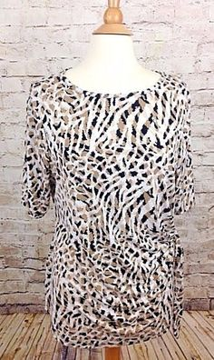 George Womens Plus Size XXL 20 Beige Animal Print Top Slinky Stretch Side Tie  #George #Blouse #Casual