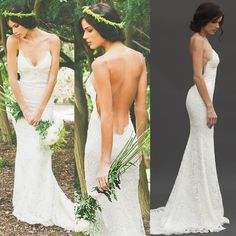Free shipping, $131.04/Piece:buy wholesale Sexy Open Back Lace Mermaid Wedding Dresses With Spaghetti Strap Deep V Neck Beach Garden Long Bridal Gowns 2015 Katie May Cheap Simple Hot from DHgate.com,get worldwide delivery and buyer protection service.