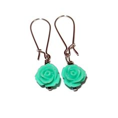 Aqua Floral Dangle Earrings Handmade by CloudNineDesignz on Etsy