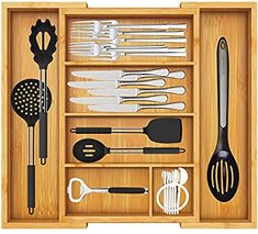 AmazonSmile: Bamboo Expandable Drawer Organizer, Adjustable Silverware Organizer with Removable Dividers, Cutlery Tray Perfect for Kitchen, Bathroom, Office, Bedroom by Pipishell: Home Improvement Silverware Drawer Organizer, Utensil Drawer Organization, Kitchen Utensil Holder, Kitchen Cutlery, Drawer Dividers, Drawer Organisers, Kitchen Organization, Kitchen Supplies, Office Supplies