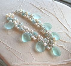 Sea Glass Jewelry Bracelet Sea Shades Bracelet Aquamarine Apatite Pearls Sterling Silver