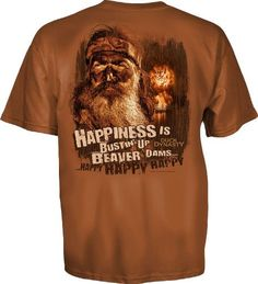 Duck Dynasty Happiness is Bustin Up Beaver Dams Adult T-shirt (Adult X-Large) http://www.bikeraa.com