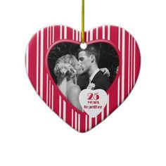 Red & White 25 Years Together Anniversary Ornament