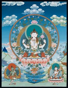 Avalokiteswora, Green Tara and White Tara: The Green Tara and White Tara are known to have arisen from the compassionate tears of Avalokiteswora. Green Tara is the embodiment of all the Buddhas and bodhisattvas' enlightened activity and White Tara is associated with practices to lengthen one's lifespan and remove life threatening obstacles.