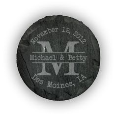 Round Slate Coasters (set of 4)  - Typewriter Monogram personalized with names, date and location